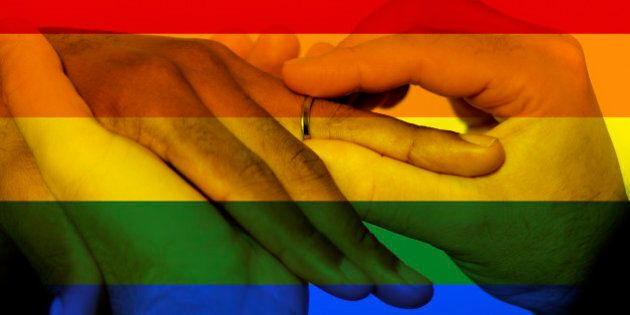 Photo composite of Iconic image style used in social media to celebrate legalization of same-sex marriage....