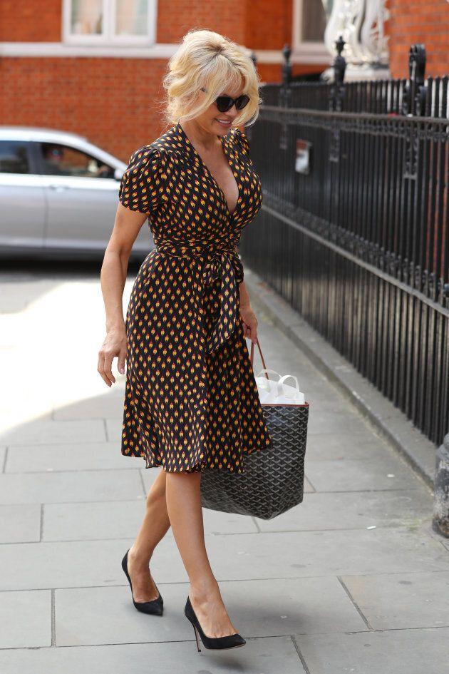 Pamela Anderson arrives at the Ecuadorian Embassy in