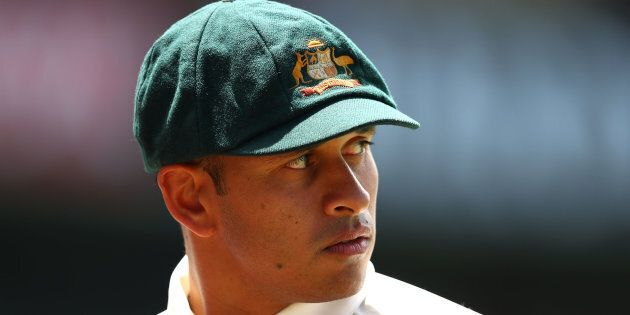 Usman Khawaja wears the baggy green during a Test match in Sydney in
