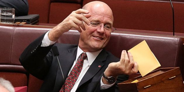 CANBERRA, AUSTRALIA - JULY 07: Senator David Leyonhjelm casts his vote for President of the Senate during...
