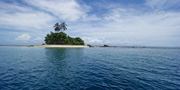 Small island on horizon, Tetepare, Solomon Islands.