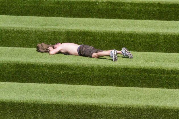 Fake grass. Fake heatwave.