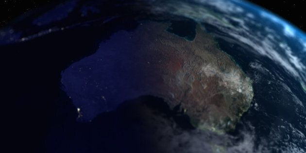 Earth with view of Australia, close up, view from
