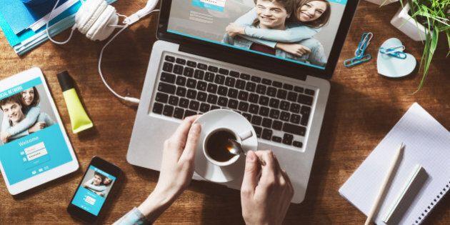 Social network user login, website mock up on computer screen, tablet and