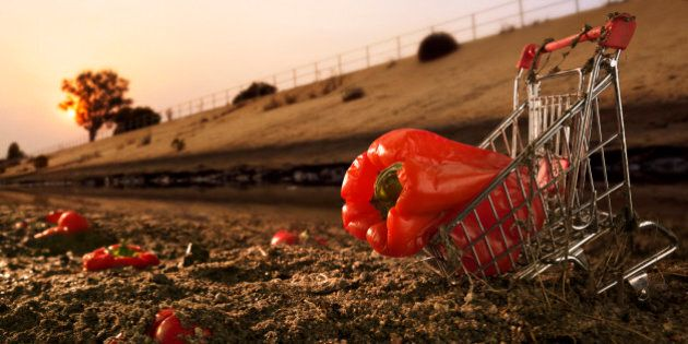 Red bell pepper in shopping cart on