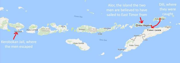 Indian man Said and Bulgarian man Ilev are believed to have travelled to East Timor from the Indonesian island of Alor.