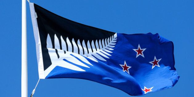 WELLINGTON, NEW ZEALAND - OCTOBER 12: Silver Fern (Black, White and Blue), by Kyle Lockwood, flies on...