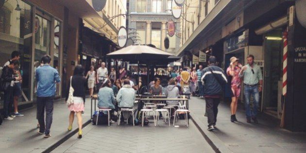 lunch at a street in CBD, Melbourne,