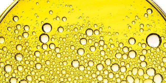 Bubbles in Olive Oil in Petri Dish