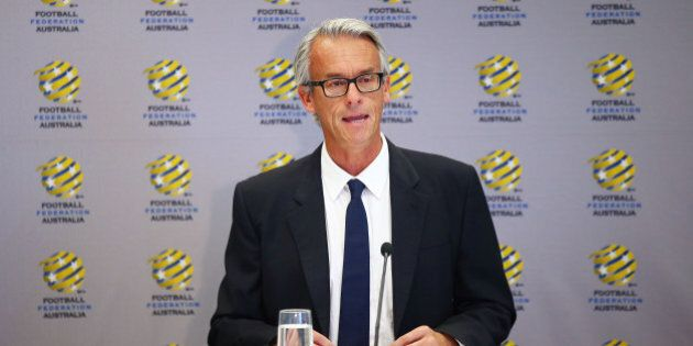 SYDNEY, AUSTRALIA - DECEMBER 01: FFA CEO David Gallop speaks to the media during a press conference at...