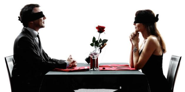 couples lovers dinning blind date in silhouettes on white