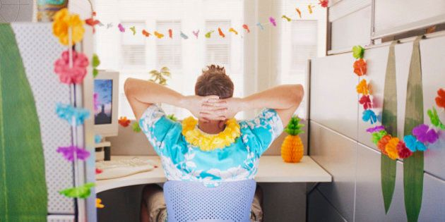 Man Relaxing in Hawaiian Decorated