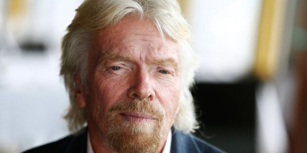 Richard Branson is bruised and battered after crashing his bike in the