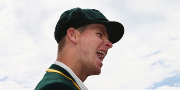 BRISBANE, AUSTRALIA - NOVEMBER 05: Steve Smith of Australia looks on at the coin toss during day one...