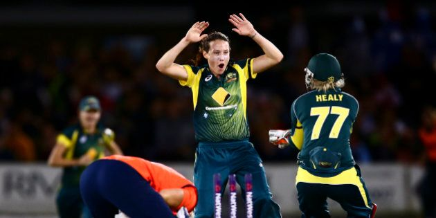 HOVE, ENGLAND - AUGUST 28: Megan Schutt of Australia celebrates with Alyssa Healy of Australia after...