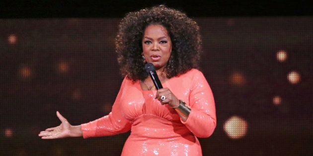 MELBOURNE, AUSTRALIA - DECEMBER 02: Oprah Winfrey on stage during her An Evening With Oprah tour on December...