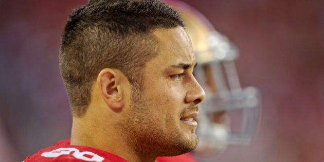 SANTA CLARA, CA - AUGUST 23: Jarryd Hayne #38 of the San Francisco 49ers watches the end of the game...