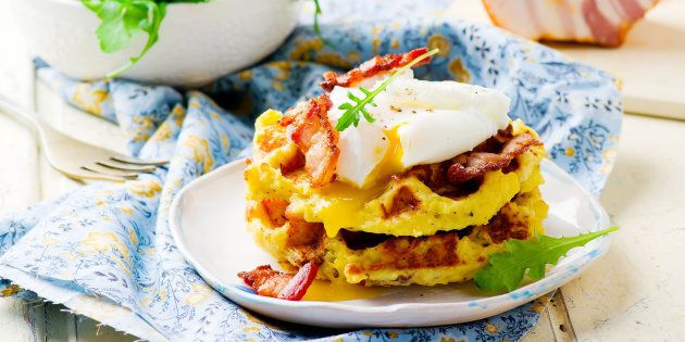 Potato waffles with bacon and eggs,