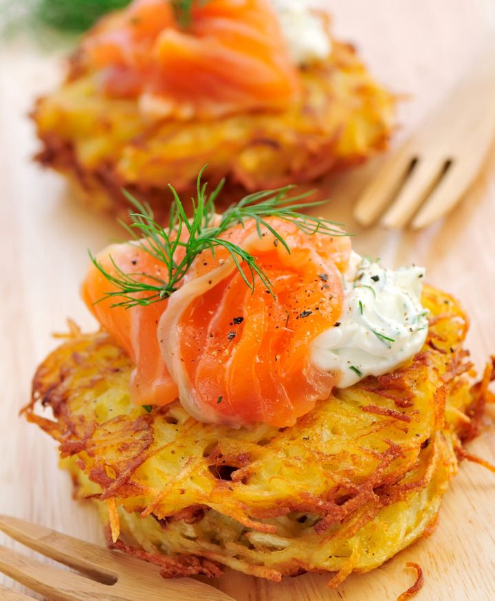 Enjoy a few potato rosti with smoked salmon, chives and cream cheese.