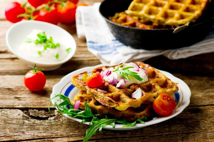 Go wild and top your potato waffle with whatever you like.