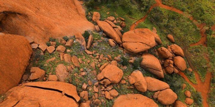 Boulders at the base of Uluru.