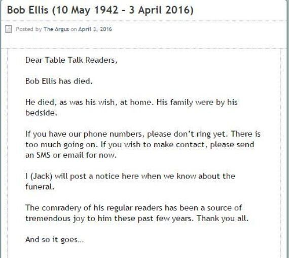 Australian Author, Political Speechwriter Bob Ellis Has Died Aged
