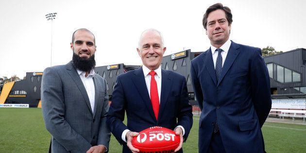 Bachar Houli, Malcolm Turnbull, AFL CEO Gillon McLachlan during the Bachar Houli Program's 2017 AFL Eid Celebration.