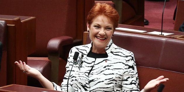 Senator Pauline Hanson takes her