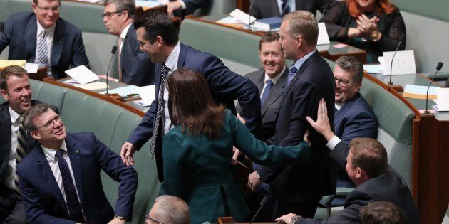 Speaker Tony Smith is dragged to the chair by Michael Sukkar and Lucy