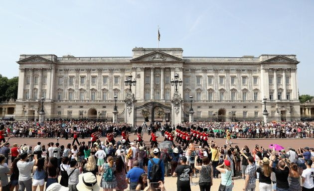 Crowds gather at Buckingham Palace ahead of the State Opening on June 21, 2017 in London, England.