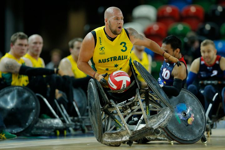 Australian Ryley Batt playing a match in the World Wheelchair rugby challenge in London in 2015.