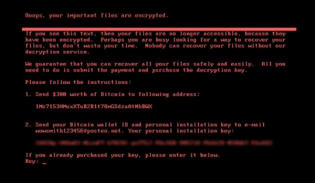 The latest ransomware attack presented computer users with a black screen, requesting $300 worth of bitcoins to restore their data.