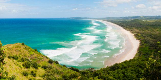 Panoramic aerial view of Tallow Beach at Byron Bay, New South Wales, Australia,