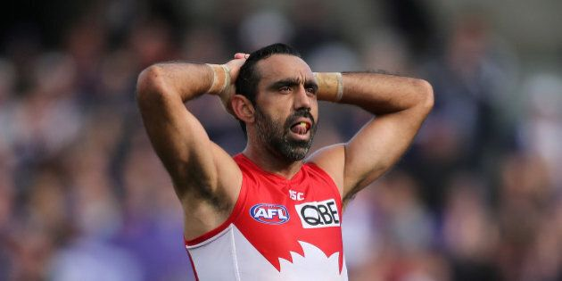 PERTH, AUSTRALIA - SEPTEMBER 12: Adam Goodes of the Swans looks on after being defeated during the First...