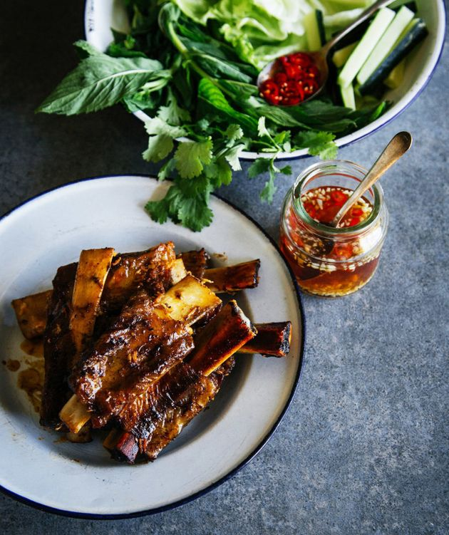 These sticky pork ribs have a refreshing Vietnamese twist and a sweet and sour hot dipping