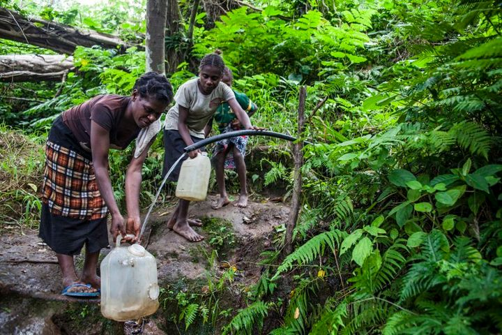 The water resources of Middle Bush come from rain tanks, when there is rain, though is supplemented by a nearby creek; particularly for washing.