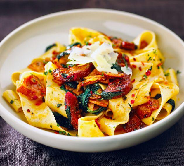Bacon and chorizo give this pasta dish a big punch of