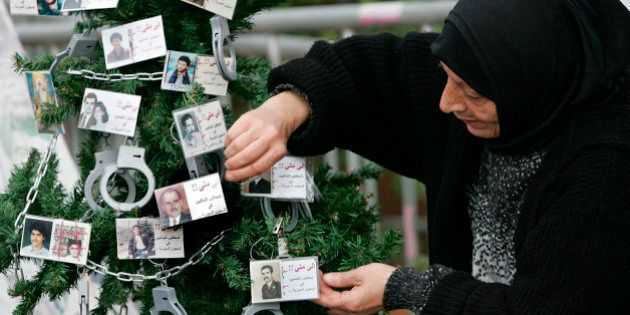 Lebanese Hana Yehya, mother of Mustafa Zakzouk who was detained in 1988 and believed to be still held...