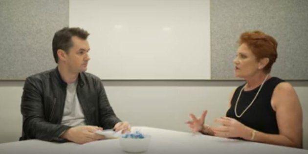 Jim Jefferies and Pauline Hanson face