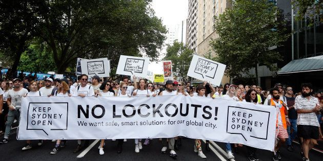Keep Sydney Open demonstrators at a rally in