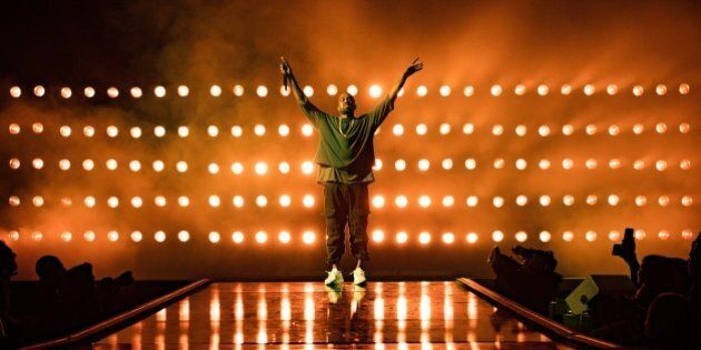 Recording artist Kanye West performs onstage at the 2015 iHeartRadio Music Festival at MGM Grand Garden...