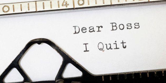 Dear Boss i Quit. Written on old typewriter