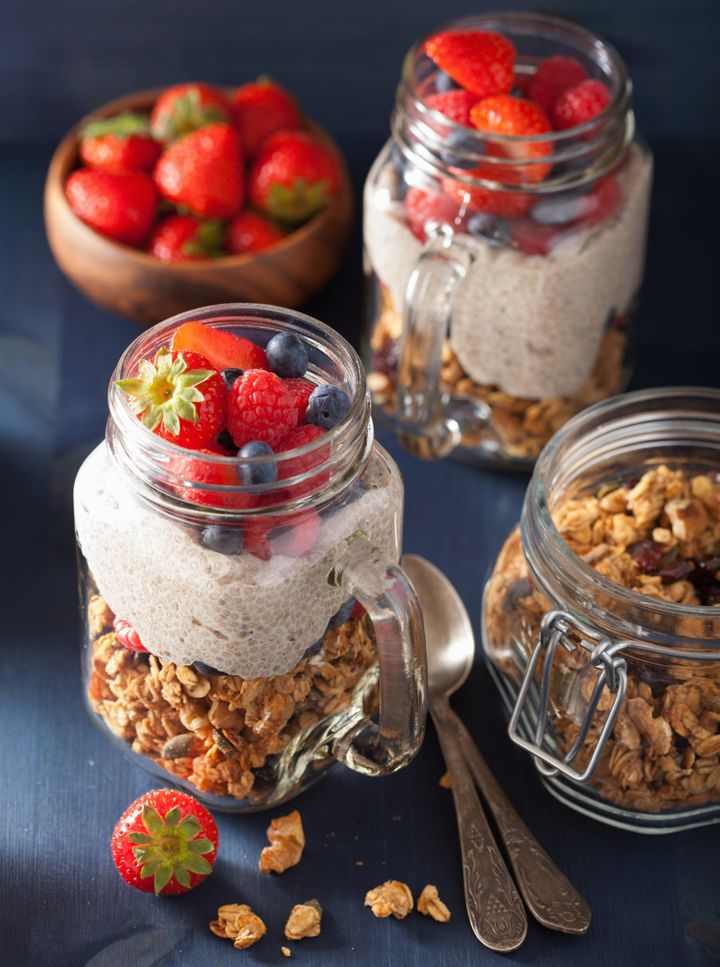 Chia pudding and granola together is the perfect mix of smooth and crunchy.