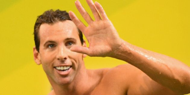 ADELAIDE, AUSTRALIA - APRIL 08:  Grant Hackett of Australia waves to the crowd after racing in the Men's 200 Metre Freestyle during day two of the 2016 Australian Swimming Championships at the South Australia Aquatic Centre on April 8, 2016 in Adelaide, Australia.  (Photo by Quinn Rooney/Getty Images)