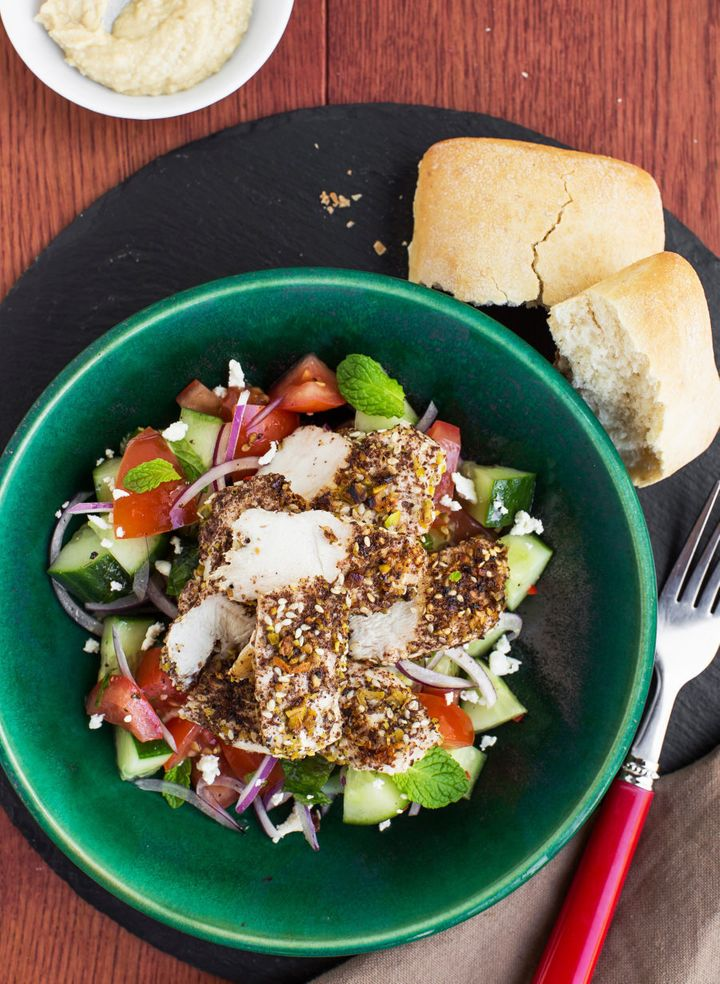 Simply assemble this delicious salad in a tupperware container and bring to work the next day.
