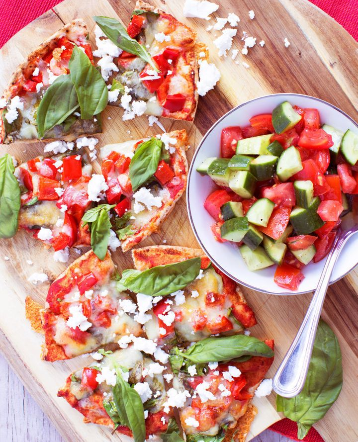 Heat these mini pizzas up in your work microwave or sandwich toaster, and serve alongside the fresh Greek style salad.