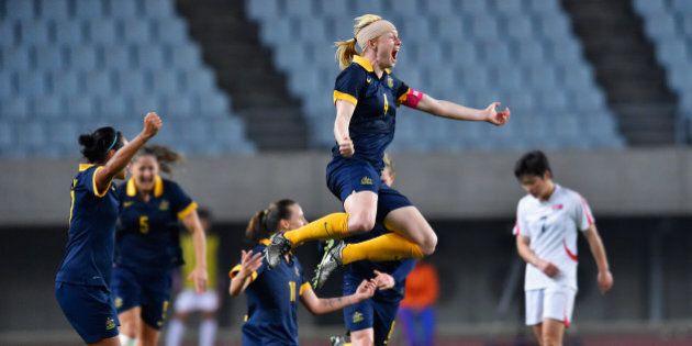 OSAKA, JAPAN - MARCH 07: Captain Clare Polkinghorne of Australia celebrates her team's qualification...