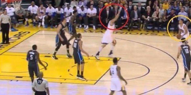 Andrew Bogut Celebrates Steph Curry Three Pointer Before Curry Even