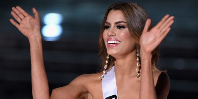 LAS VEGAS, NV - DECEMBER 20: Miss Colombia 2015, Ariadna Gutierrez, is named a top three finalist during...