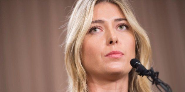 Russian tennis player Maria Sharapova speaks at a press conference in Los Angeles, on March 7, 2016....